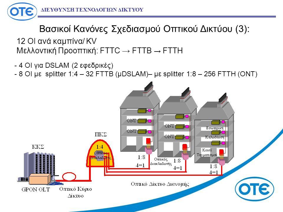 Βασικοί Κανόνες Σχεδιασμού Οπτικού Δικτύου (3): 12 OI ανά καμπίνα/ KV Μελλοντική Προοπτική: FTTC → FTTB → FTTH ΔΙΕΥΘΥΝΣΗ ΤΕΧΝΟΛΟΓΙΩΝ ΔΙΚΤΥΟΥ - 4 OI για DSLAM (2 εφεδρικές) - 8 ΟΙ με splitter 1:4 – 32 FTTB (μDSLAM)– με splitter 1:8 – 256 FTTH (ΟΝΤ)