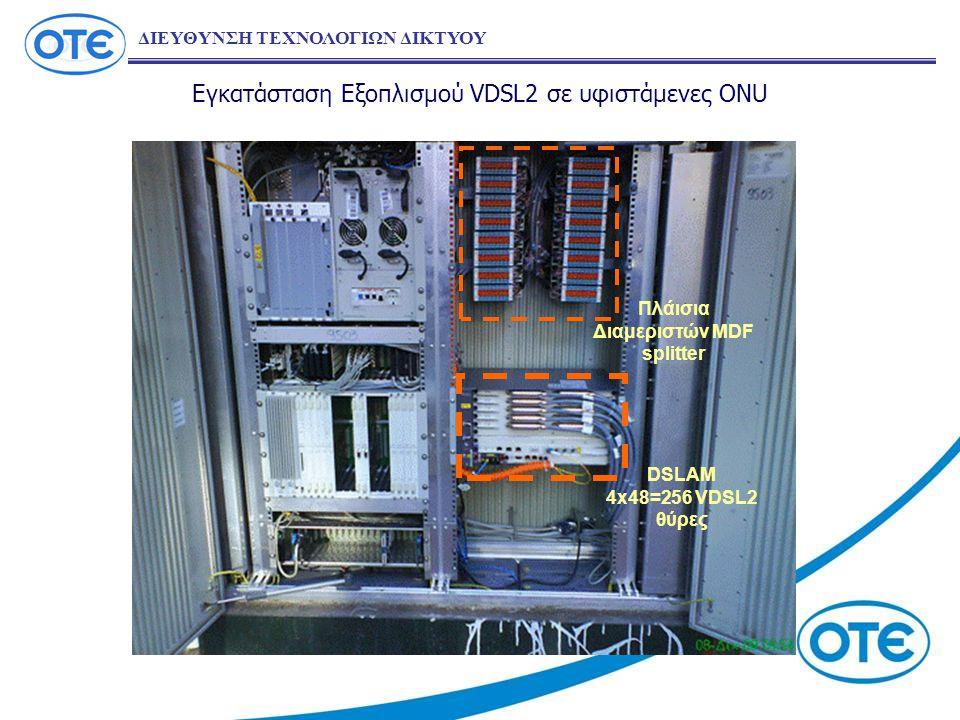 Εγκατάσταση Εξοπλισμού VDSL2 σε υφιστάμενες ONU DSLAM 4x48=256 VDSL2 θύρες Πλάισια Διαμεριστών MDF splitter ΔΙΕΥΘΥΝΣΗ ΤΕΧΝΟΛΟΓΙΩΝ ΔΙΚΤΥΟΥ