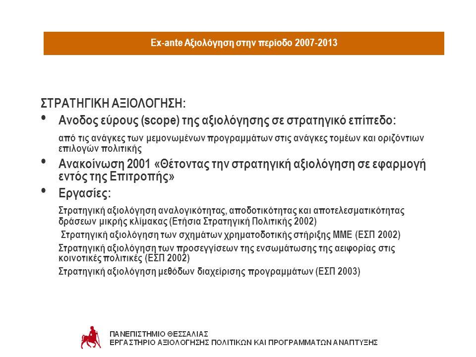 Ex-ante Αξιολόγηση στην περίοδο 2007-2013 ΣΤΡΑΤΗΓΙΚΗ ΑΞΙΟΛΟΓΗΣΗ: Aνοδος εύρους (scope) της αξιολόγησης σε στρατηγικό επίπεδο: από τις ανάγκες των μεμονωμένων προγραμμάτων στις ανάγκες τομέων και οριζόντιων επιλογών πολιτικής Ανακοίνωση 2001 «Θέτοντας την στρατηγική αξιολόγηση σε εφαρμογή εντός της Επιτροπής» Εργασίες: Στρατηγική αξιολόγηση αναλογικότητας, αποδοτικότητας και αποτελεσματικότητας δράσεων μικρής κλίμακας (Ετήσια Στρατηγική Πολιτικής 2002) Στρατηγική αξιολόγηση των σχημάτων χρηματοδοτικής στήριξης ΜΜΕ (ΕΣΠ 2002) Στρατηγική αξιολόγηση των προσεγγίσεων της ενσωμάτωσης της αειφορίας στις κοινοτικές πολιτικές (ΕΣΠ 2002) Στρατηγική αξιολόγηση μεθόδων διαχείρισης προγραμμάτων (ΕΣΠ 2003)