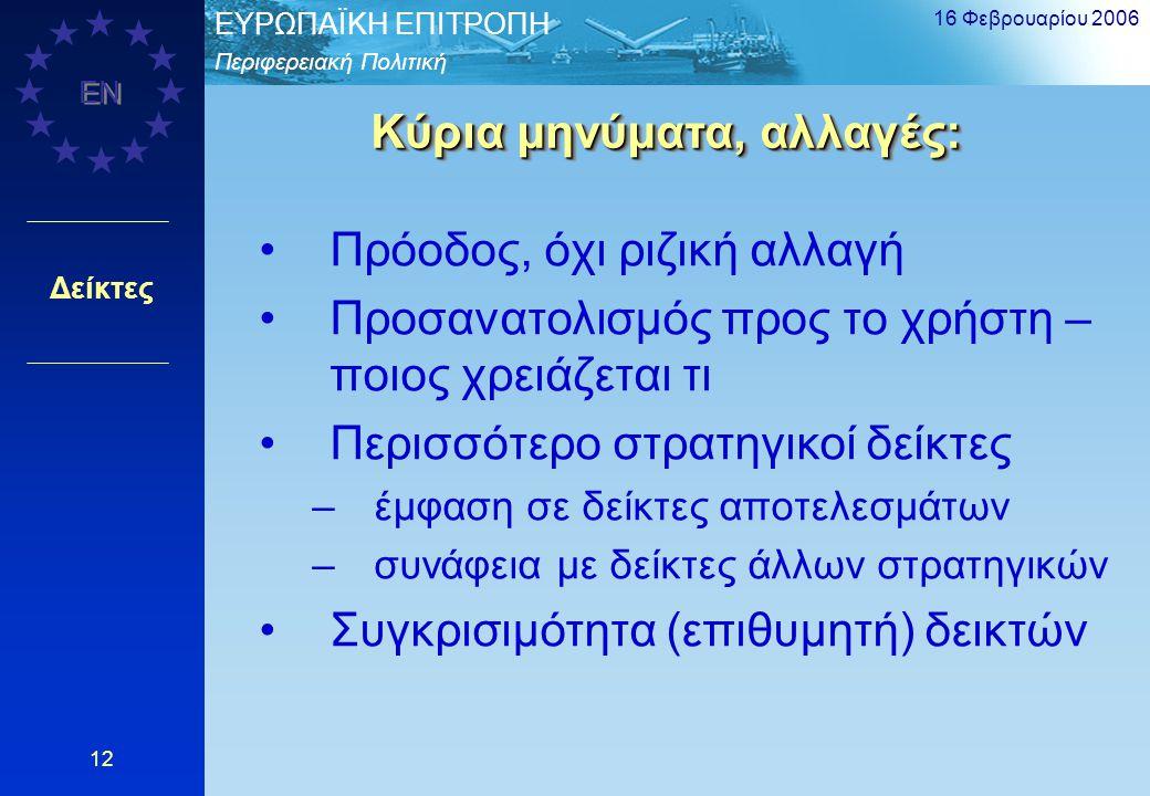 Περιφερειακή Πολιτική EΥΡΩΠΑΪΚΗ ΕΠΙΤΡΟΠΗ EN 16 Φεβρουαρίου 2006 12 Δείκτες Κύρια μηνύματα, αλλαγές: Πρόοδος, όχι ριζική αλλαγή Προσανατολισμός προς το