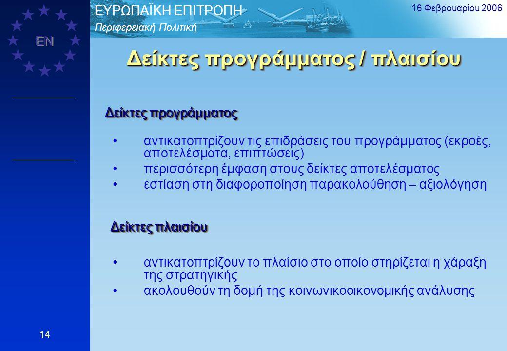 Περιφερειακή Πολιτική EΥΡΩΠΑΪΚΗ ΕΠΙΤΡΟΠΗ EN 16 Φεβρουαρίου 2006 14 Δείκτες προγράμματος / πλαισίου αντικατοπτρίζουν τις επιδράσεις του προγράμματος (ε