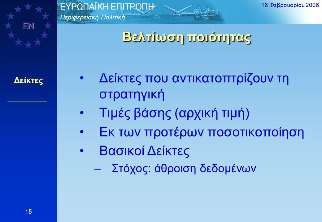 Περιφερειακή Πολιτική EΥΡΩΠΑΪΚΗ ΕΠΙΤΡΟΠΗ EN 16 Φεβρουαρίου 2006 15 Δείκτες Βελτίωση ποιότητας Δείκτες που αντικατοπτρίζουν τη στρατηγική Τιμές βάσης (