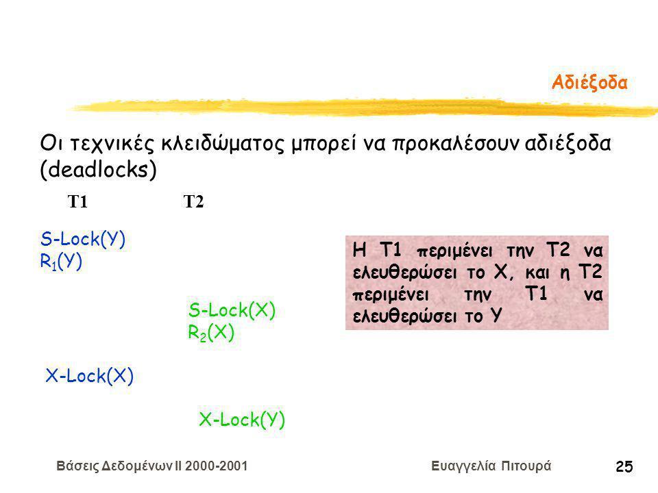 Βάσεις Δεδομένων II 2000-2001 Ευαγγελία Πιτουρά 25 Αδιέξοδα Οι τεχνικές κλειδώματος μπορεί να προκαλέσουν αδιέξοδα (deadlocks) S-Lock(Y) R 1 (Y) T1 T2 S-Lock(X) R 2 (X) X-Lock(X) X-Lock(Y) H T1 περιμένει την Τ2 να ελευθερώσει το Χ, και η Τ2 περιμένει την Τ1 να ελευθερώσει το Υ