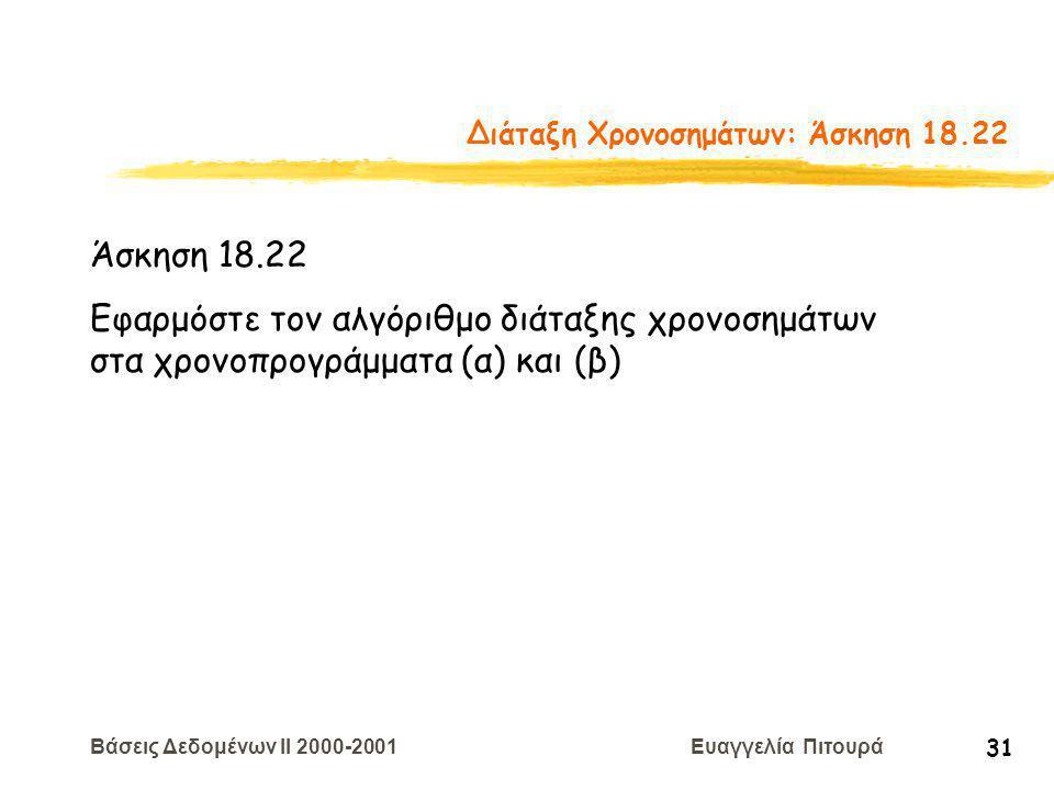 Βάσεις Δεδομένων II 2000-2001 Ευαγγελία Πιτουρά 31 Διάταξη Χρονοσημάτων: Άσκηση 18.22 Άσκηση 18.22 Εφαρμόστε τον αλγόριθμο διάταξης χρονοσημάτων στα χρονοπρογράμματα (α) και (β)
