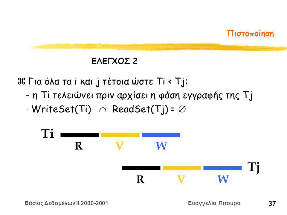 Βάσεις Δεδομένων II 2000-2001 Ευαγγελία Πιτουρά 37 Πιστοποίηση Ti RVW Tj RVW zΓια όλα τα i και j τέτοια ώστε Ti < Tj: - η Τi τελειώνει πριν αρχίσει η φάση εγγραφής της Tj - WriteSet(Ti)  ReadSet(Tj) =  ΕΛΕΓΧΟΣ 2