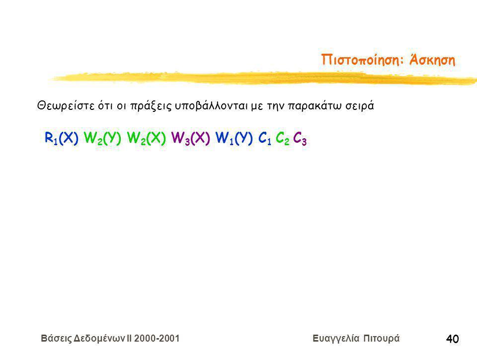 Βάσεις Δεδομένων II 2000-2001 Ευαγγελία Πιτουρά 40 Πιστοποίηση: Άσκηση Θεωρείστε ότι οι πράξεις υποβάλλονται με την παρακάτω σειρά R 1 (X) W 2 (Y) W 2 (Χ) W 3 (Χ) W 1 (Y) C 1 C 2 C 3