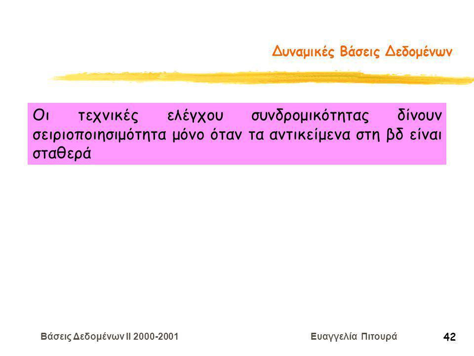 Βάσεις Δεδομένων II 2000-2001 Ευαγγελία Πιτουρά 42 Δυναμικές Βάσεις Δεδομένων Οι τεχνικές ελέγχου συνδρομικότητας δίνουν σειριοποιησιμότητα μόνο όταν τα αντικείμενα στη βδ είναι σταθερά