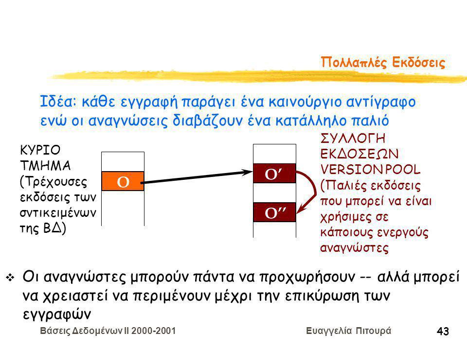 Βάσεις Δεδομένων II 2000-2001 Ευαγγελία Πιτουρά 43 Πολλαπλές Εκδόσεις O O' O'' ΚΥΡΙΟ ΤΜΗΜΑ (Τρέχουσες εκδόσεις των σντικειμένων της ΒΔ) ΣΥΛΛΟΓΗ ΕΚΔΟΣΕΩΝ VERSION POOL (Παλιές εκδόσεις που μπορεί να είναι χρήσιμες σε κάποιους ενεργούς αναγνώστες v Οι αναγνώστες μπορούν πάντα να προχωρήσουν -- αλλά μπορεί να χρειαστεί να περιμένουν μέχρι την επικύρωση των εγγραφών Ιδέα: κάθε εγγραφή παράγει ένα καινούργιο αντίγραφο ενώ οι αναγνώσεις διαβάζουν ένα κατάλληλο παλιό