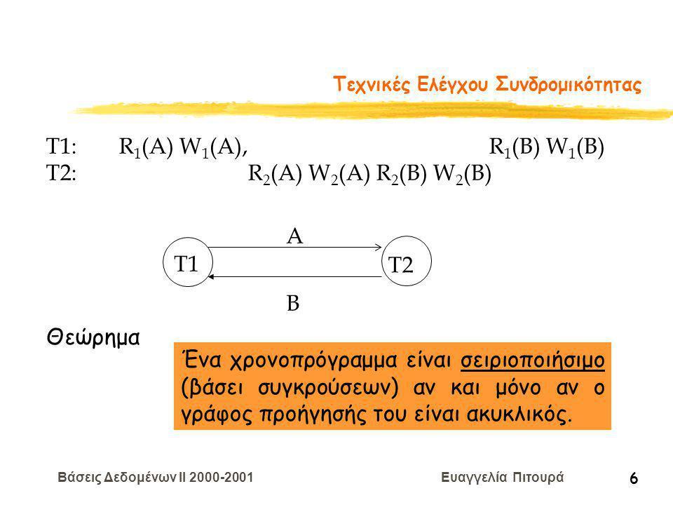 Βάσεις Δεδομένων II 2000-2001 Ευαγγελία Πιτουρά 6 Τεχνικές Ελέγχου Συνδρομικότητας T1: R 1 (A) W 1 (A), R 1 (B) W 1 (B) T2: R 2 (A) W 2 (A) R 2 (B) W 2 (B) T1 T2 A B Ένα χρονοπρόγραμμα είναι σειριοποιήσιμο (βάσει συγκρούσεων) αν και μόνο αν ο γράφος προήγησής του είναι ακυκλικός.