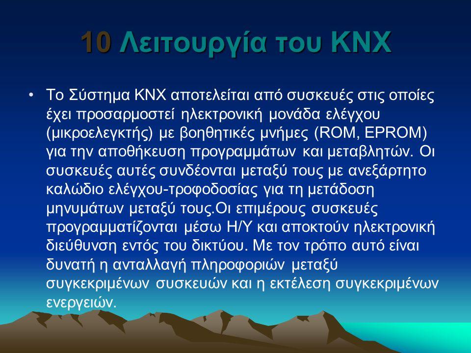 10 Λειτουργία του ΚΝΧ Το Σύστημα KNX αποτελείται από συσκευές στις οποίες έχει προσαρμοστεί ηλεκτρονική μονάδα ελέγχου (μικροελεγκτής) με βοηθητικές μ