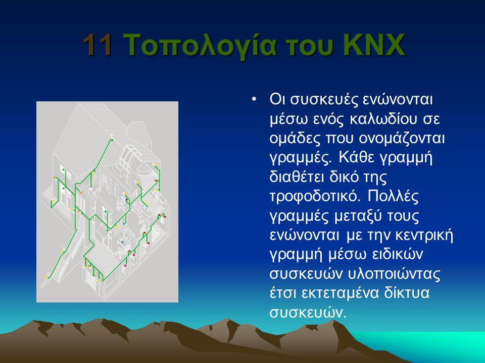 11 Τοπολογία του KNX Οι συσκευές ενώνονται μέσω ενός καλωδίου σε ομάδες που ονομάζονται γραμμές. Κάθε γραμμή διαθέτει δικό της τροφοδοτικό. Πολλές γρα