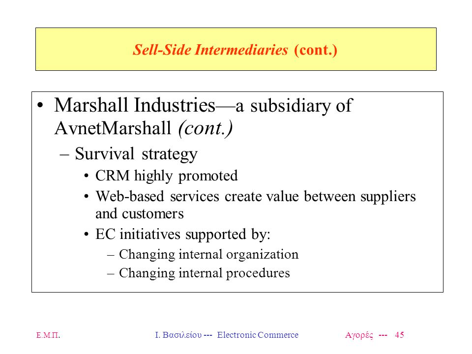 Ε.Μ.Π.Ι. Βασιλείου --- Electronic Commerce Αγορές --- 45 Sell-Side Intermediaries (cont.) Marshall Industries —a subsidiary of AvnetMarshall (cont.) –
