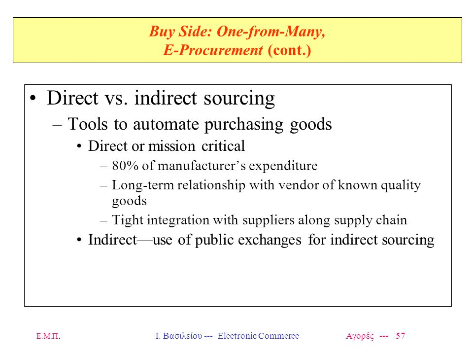Ε.Μ.Π.Ι. Βασιλείου --- Electronic Commerce Αγορές --- 57 Buy Side: One-from-Many, E-Procurement (cont.) Direct vs. indirect sourcing –Tools to automat