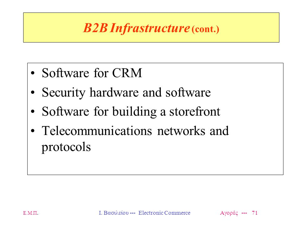 Ε.Μ.Π.Ι. Βασιλείου --- Electronic Commerce Αγορές --- 71 B2B Infrastructure (cont.) Software for CRM Security hardware and software Software for build