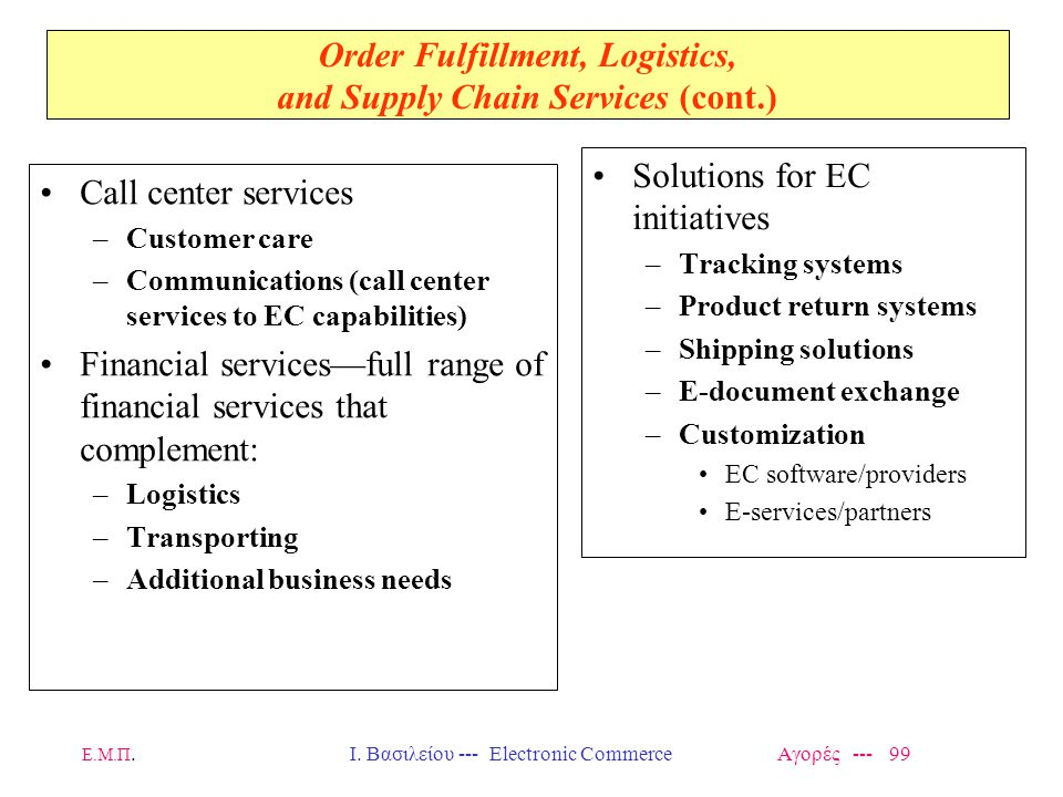 Ε.Μ.Π.Ι. Βασιλείου --- Electronic Commerce Αγορές --- 99 Order Fulfillment, Logistics, and Supply Chain Services (cont.) Call center services –Custome