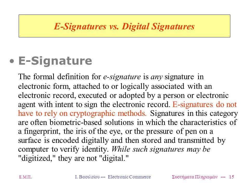 Ε.Μ.Π.Ι. Βασιλείου --- Electronic Commerce Συστήματα Πληρωμών --- 15 E-Signatures vs.
