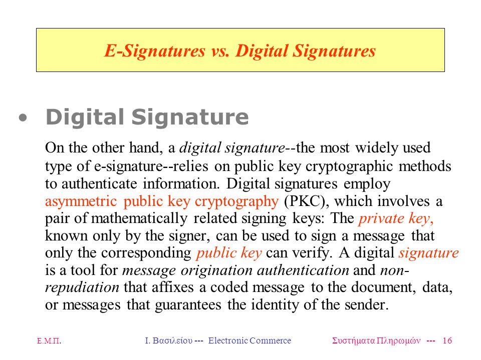 Ε.Μ.Π.Ι. Βασιλείου --- Electronic Commerce Συστήματα Πληρωμών --- 16 E-Signatures vs.