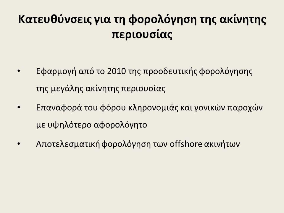 Κατευθύνσεις για τη φορολόγηση της ακίνητης περιουσίας Εφαρμογή από το 2010 της προοδευτικής φορολόγησης της μεγάλης ακίνητης περιουσίας Επαναφορά του