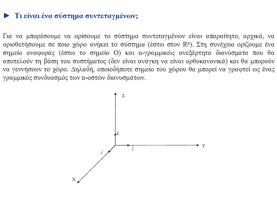 ► Τι είναι ένα σύστημα συντεταγμένων; Για να μπορέσουμε να ορίσουμε το σύστημα συντεταγμένων είναι απαραίτητο, αρχικά, να οριοθετήσουμε σε ποιο χώρο α