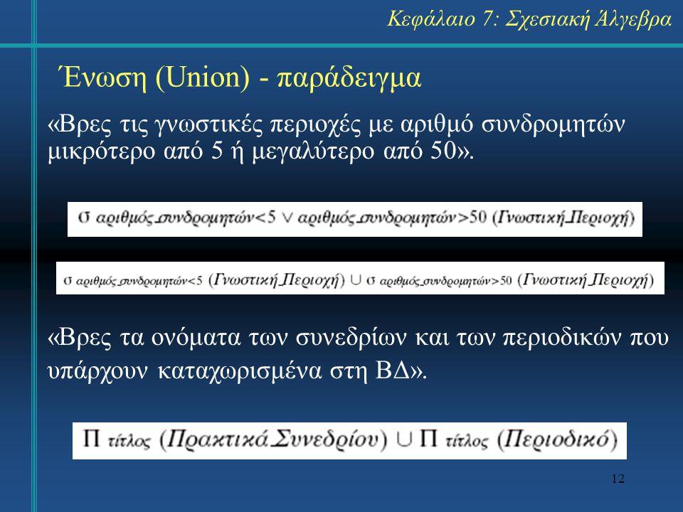 12 Ένωση (Union) - παράδειγμα «Βρες τις γνωστικές περιοχές με αριθμό συνδρομητών μικρότερο από 5 ή μεγαλύτερο από 50». «Βρες τα ονόματα των συνεδρίων