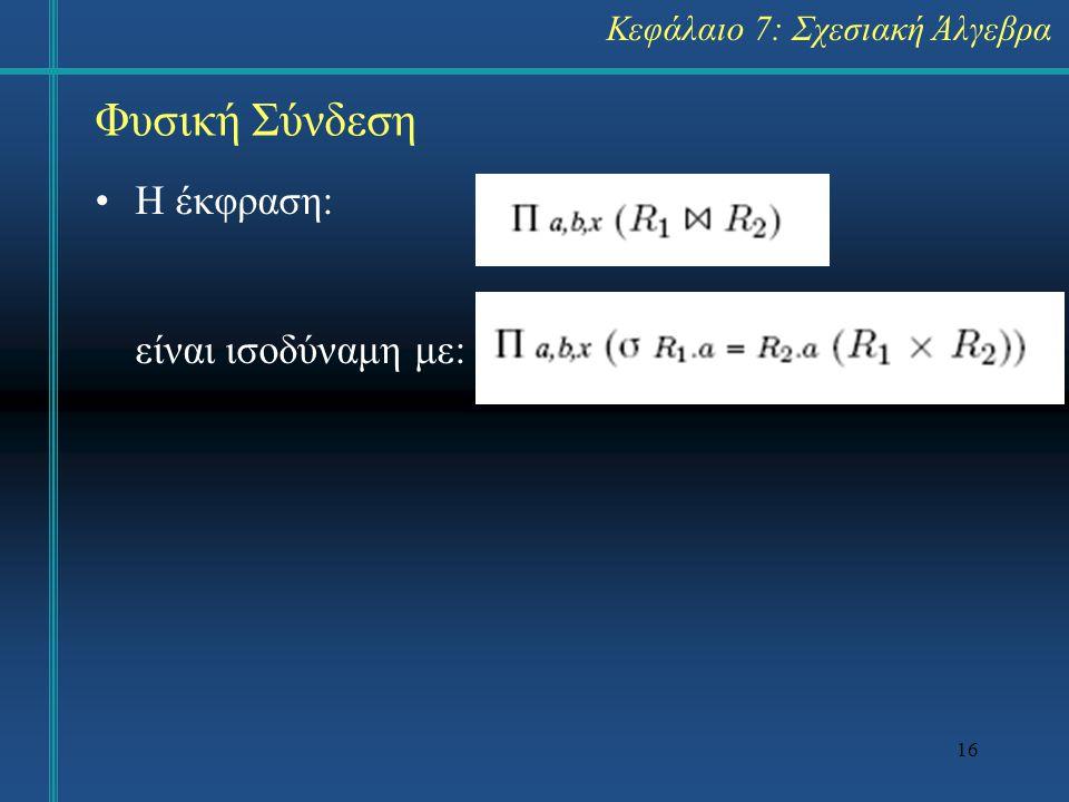 16 Φυσική Σύνδεση Κεφάλαιο 7: Σχεσιακή Άλγεβρα Η έκφραση: είναι ισοδύναμη με:
