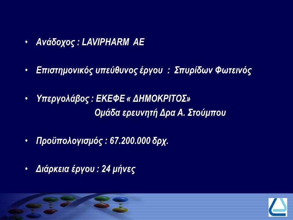 Ανάδοχος : LAVIPHARM AE Επιστημονικός υπεύθυνος έργου : Σπυρίδων Φωτεινός Υπεργολάβος : ΕΚΕΦΕ « ΔΗΜΟΚΡΙΤΟΣ» Ομάδα ερευνητή Δρα Α. Στούμπου Προϋπολογισ
