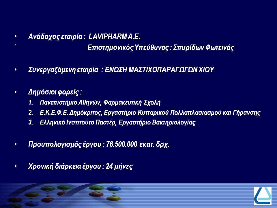 Ανάδοχος εταιρία : LAVIPHARM A.E. ` Επιστημονικός Υπεύθυνος : Σπυρίδων Φωτεινός Συνεργαζόμενη εταιρία : ΕΝΩΣΗ ΜΑΣΤΙΧΟΠΑΡΑΓΩΓΩΝ ΧΙΟΥ Δημόσιοι φορείς :