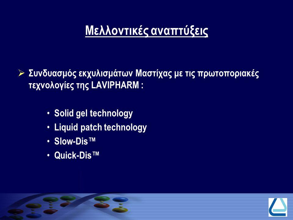 Μελλοντικές αναπτύξεις  Συνδυασμός εκχυλισμάτων Μαστίχας με τις πρωτοποριακές τεχνολογίες της LAVIPHARM : Solid gel technology Liquid patch technolog