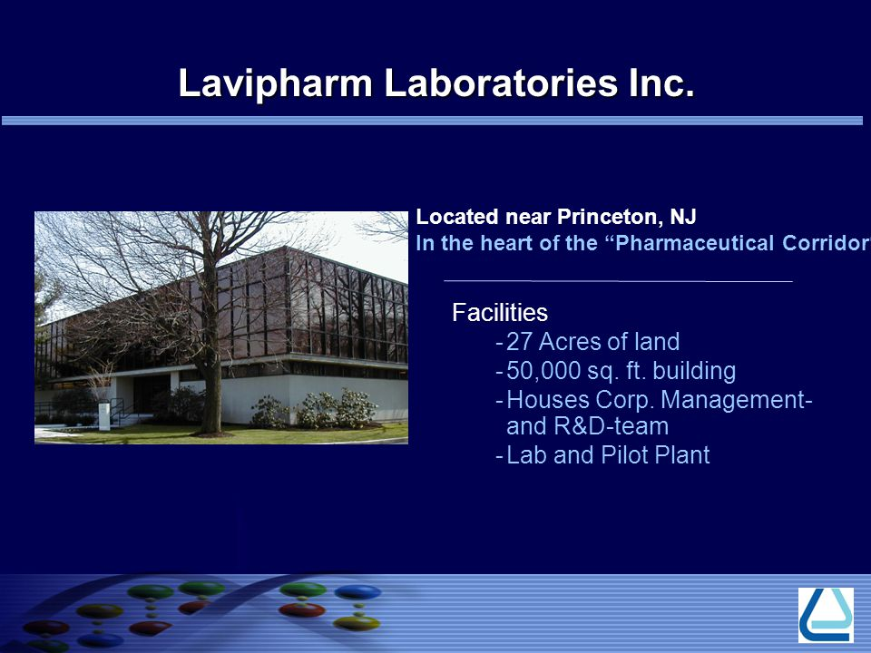 Located near Princeton, NJ In the heart of the Pharmaceutical Corridor Facilities -27 Acres of land -50,000 sq.