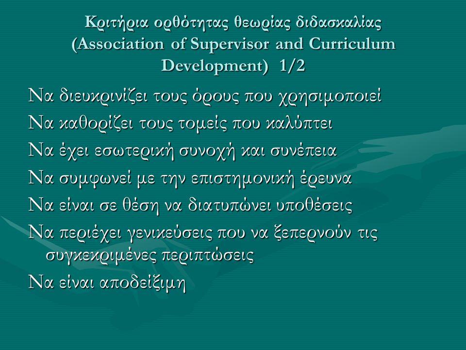 Κριτήρια ορθότητας θεωρίας διδασκαλίας (Association of Supervisor and Curriculum Development) 1/2 Να διευκρινίζει τους όρους που χρησιμοποιεί Να καθορ