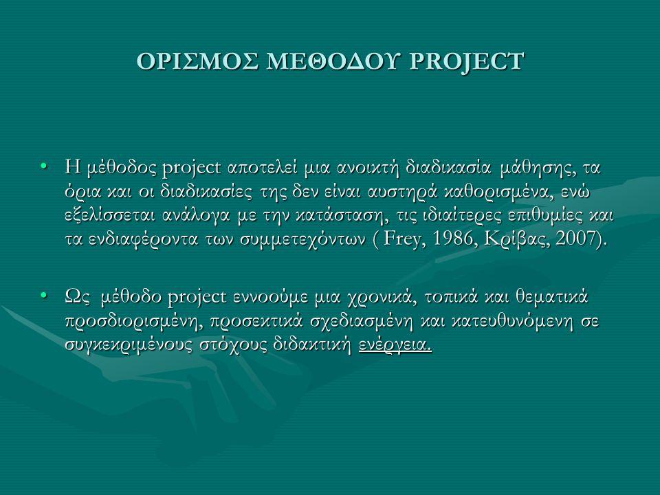 ΟΡΙΣΜΟΣ ΜΕΘΟΔΟΥ PROJECT Η μέθοδος project αποτελεί μια ανοικτή διαδικασία μάθησης, τα όρια και οι διαδικασίες της δεν είναι αυστηρά καθορισμένα, ενώ εξελίσσεται ανάλογα με την κατάσταση, τις ιδιαίτερες επιθυμίες και τα ενδιαφέροντα των συμμετεχόντων ( Frey, 1986, Κρίβας, 2007).Η μέθοδος project αποτελεί μια ανοικτή διαδικασία μάθησης, τα όρια και οι διαδικασίες της δεν είναι αυστηρά καθορισμένα, ενώ εξελίσσεται ανάλογα με την κατάσταση, τις ιδιαίτερες επιθυμίες και τα ενδιαφέροντα των συμμετεχόντων ( Frey, 1986, Κρίβας, 2007).