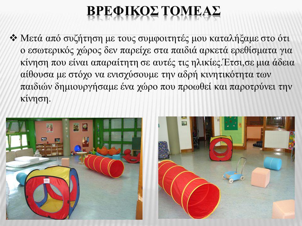  Μετά από συζήτηση με τους συμφοιτητές μου καταλήξαμε στο ότι ο εσωτερικός χώρος δεν παρείχε στα παιδιά αρκετά ερεθίσματα για κίνηση που είναι απαραί