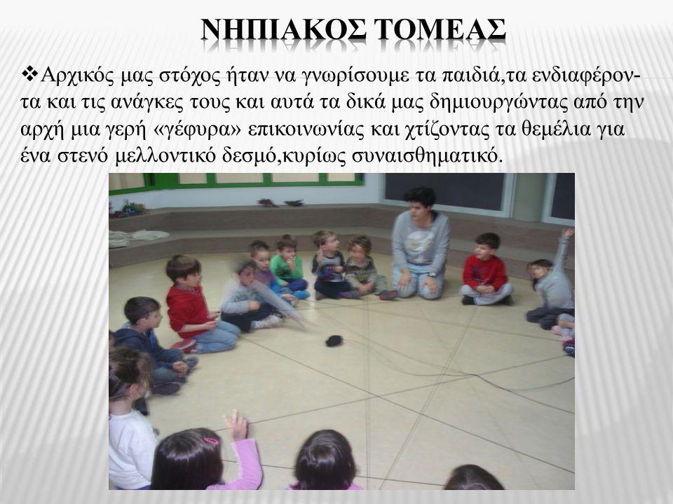  Αρχικός μας στόχος ήταν να γνωρίσουμε τα παιδιά,τα ενδιαφέρον- τα και τις ανάγκες τους και αυτά τα δικά μας δημιουργώντας από την αρχή μια γερή «γέφ
