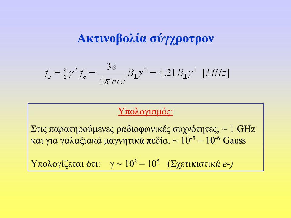 Υπολογισμός: Στις παρατηρούμενες ραδιοφωνικές συχνότητες, ~ 1 GHz και για γαλαξιακά μαγνητικά πεδία, ~ 10 -5 – 10 -6 Gauss Υπολογίζεται ότι: γ ~ 10 3