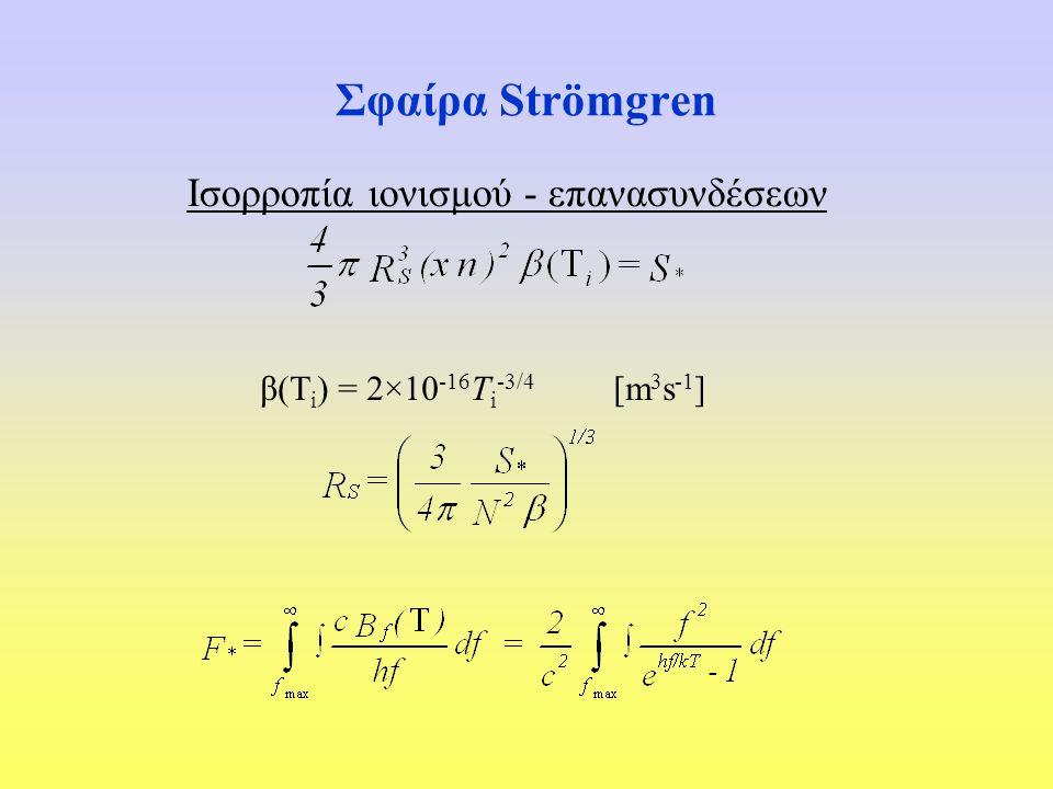 Σφαίρα Strömgren Ισορροπία ιονισμού - επανασυνδέσεων β(Τ i ) = 2×10 ‑ 16 T i ‑ 3/4 [m 3 s ‑ 1 ]