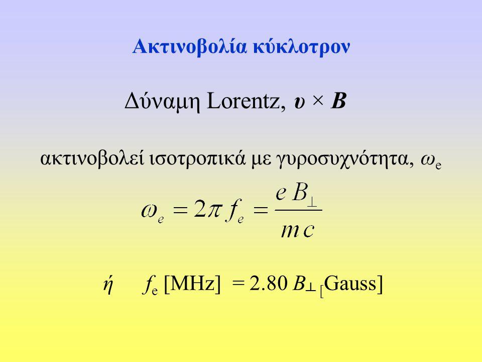 Ακτινοβολία κύκλοτρον Δύναμη Lorentz, υ × Β ακτινοβολεί ισοτροπικά με γυροσυχνότητα, ω e ή f e [MHz] = 2.80 Β ┴ [ Gauss]