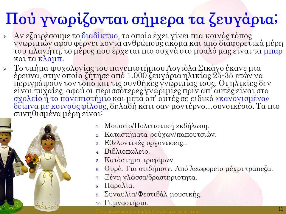 Free powerpoint template: www.favorideas.com 11 Πού γνωρίζονται σήμερα τα ζευγάρια;  Αν εξαιρέσουμε το διαδίκτυο, το οποίο έχει γίνει πια κοινός τόπο