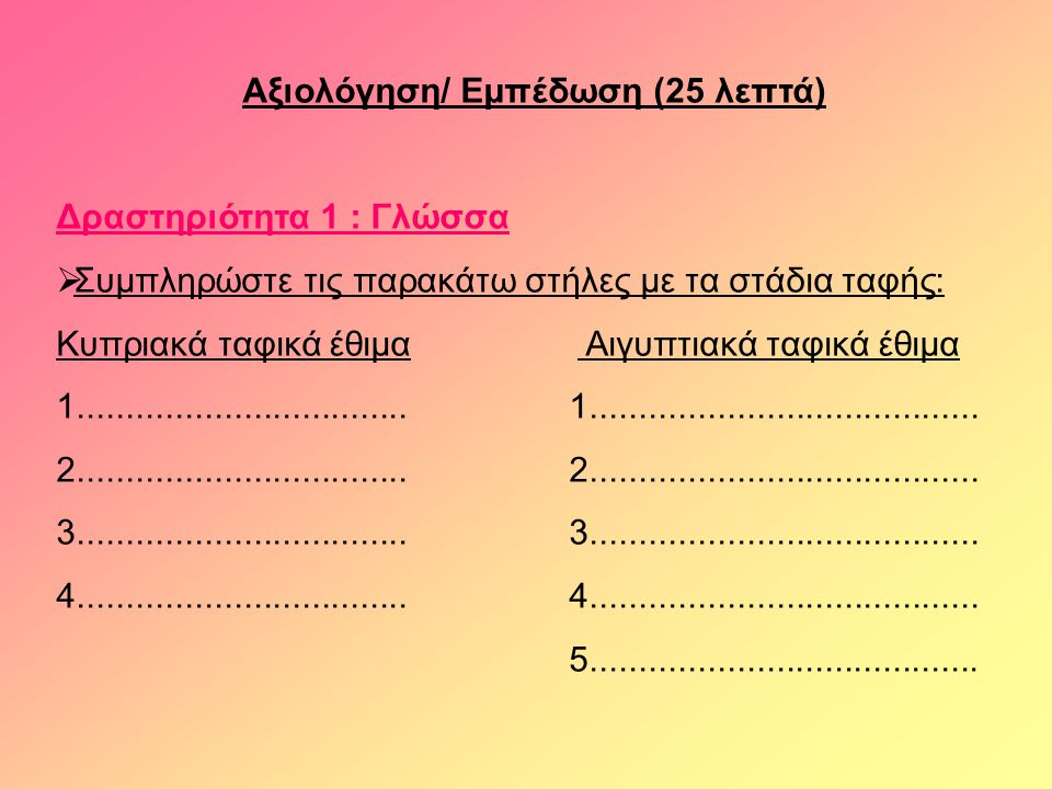 Αξιολόγηση/ Εμπέδωση (25 λεπτά) Δραστηριότητα 1 : Γλώσσα  Συμπληρώστε τις παρακάτω στήλες με τα στάδια ταφής: Κυπριακά ταφικά έθιμα Αιγυπτιακά ταφικά