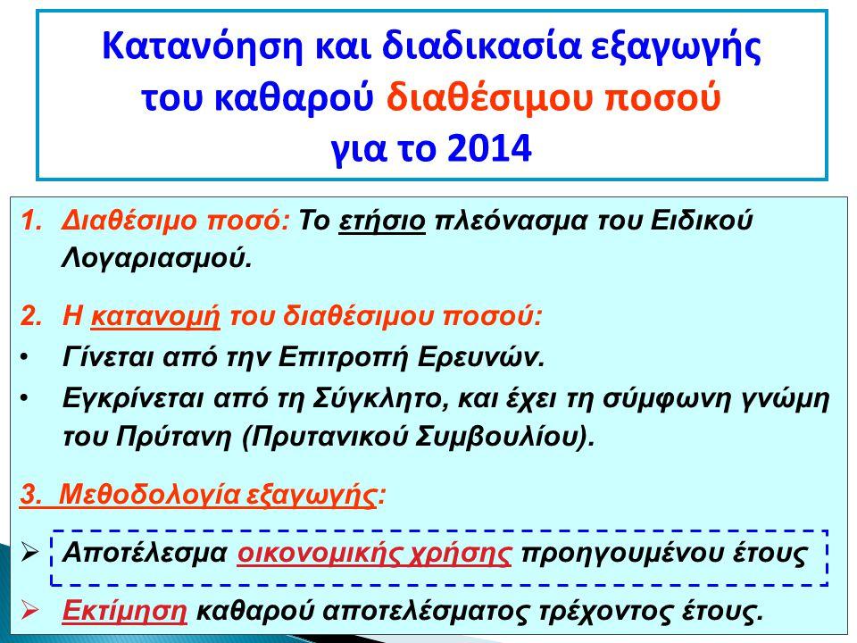 Κατανόηση και διαδικασία εξαγωγής του καθαρού διαθέσιμου ποσού για το 2014 1.Διαθέσιμο ποσό: Το ετήσιο πλεόνασμα του Ειδικού Λογαριασμού.