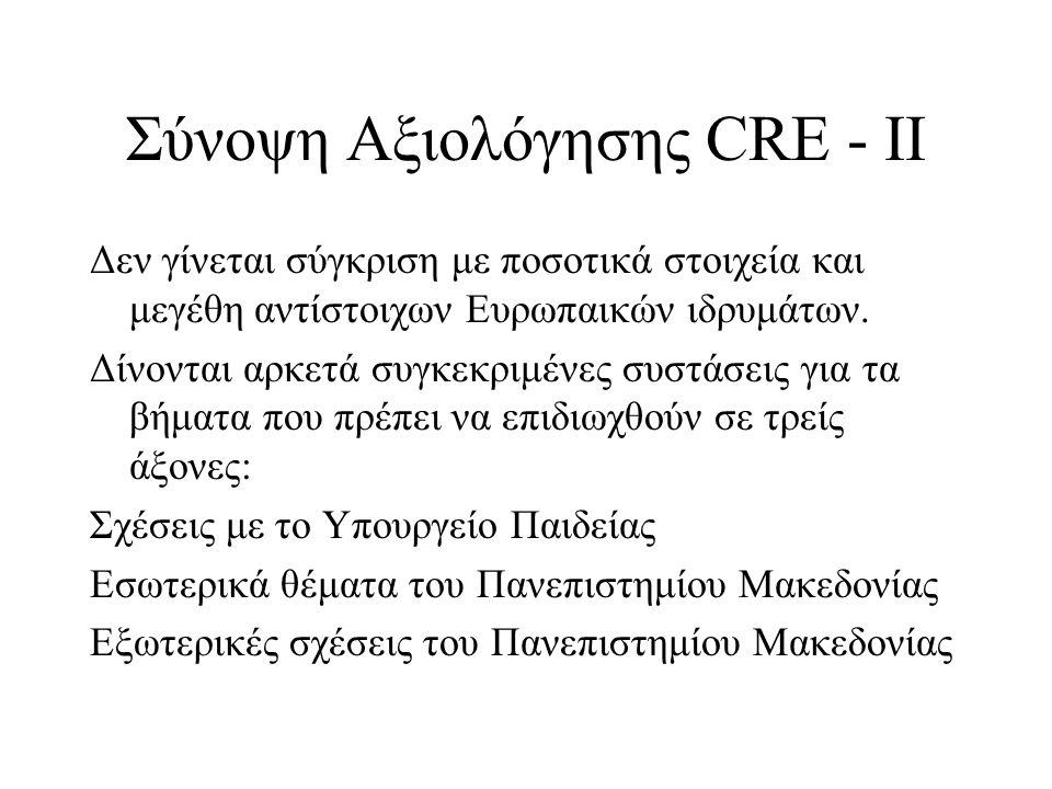 Σύνοψη Αξιολόγησης CRE - ΙΙ Δεν γίνεται σύγκριση με ποσοτικά στοιχεία και μεγέθη αντίστοιχων Ευρωπαικών ιδρυμάτων. Δίνονται αρκετά συγκεκριμένες συστά