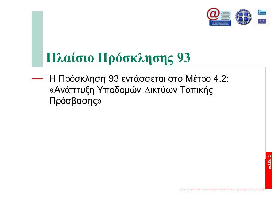 σελίδα 2 Πλαίσιο Πρόσκλησης 93 — Η Πρόσκληση 93 εντάσσεται στο Μέτρο 4.2: «Ανάπτυξη Υποδοµών ∆ικτύων Τοπικής Πρόσβασης»