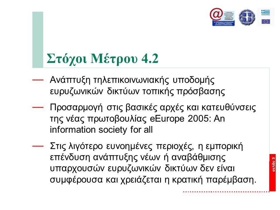 σελίδα 3 Στόχοι Μέτρου 4.2 — Ανάπτυξη τηλεπικοινωνιακής υποδομής ευρυζωνικών δικτύων τοπικής πρόσβασης — Προσαρμογή στις βασικές αρχές και κατευθύνσεις της νέας πρωτοβουλίας eEurope 2005: An information society for all — Στις λιγότερο ευνοημένες περιοχές, η εμπορική επένδυση ανάπτυξης νέων ή αναβάθμισης υπαρχουσών ευρυζωνικών δικτύων δεν είναι συμφέρουσα και χρειάζεται η κρατική παρέμβαση.