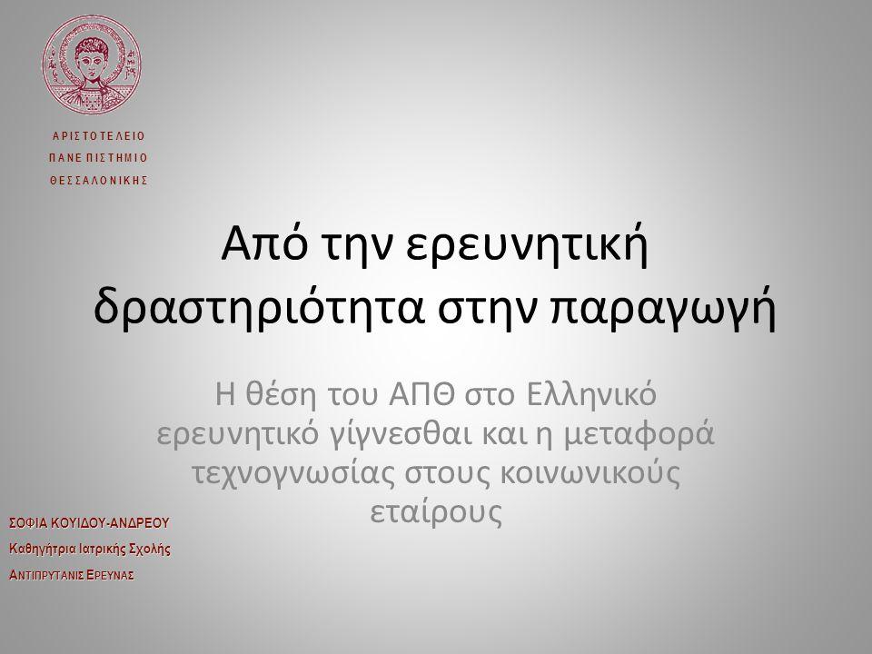 Έρευνα στα Ελληνικά Πανεπιστήμια Η αξιολόγηση των διδασκόντων στα πανεπιστήμια με βάση κυρίως την ερευνητική τους δραστηριότητα συνέβαλε στην καταξίωση των Ελληνικών πανεπιστημίων διεθνώς 8 ελληνικά πανεπιστήμια, με το Αριστοτέλειο στις πρώτες θέσεις, κατατάσσονται μεταξύ των 500 καλύτερων σε παγκόσμια κλίμακα Για τον λόγο αυτό η έρευνα στην Ελλάδα υλοποιείται κυρίως (80%) στα Ελληνικά πανεπιστήμια
