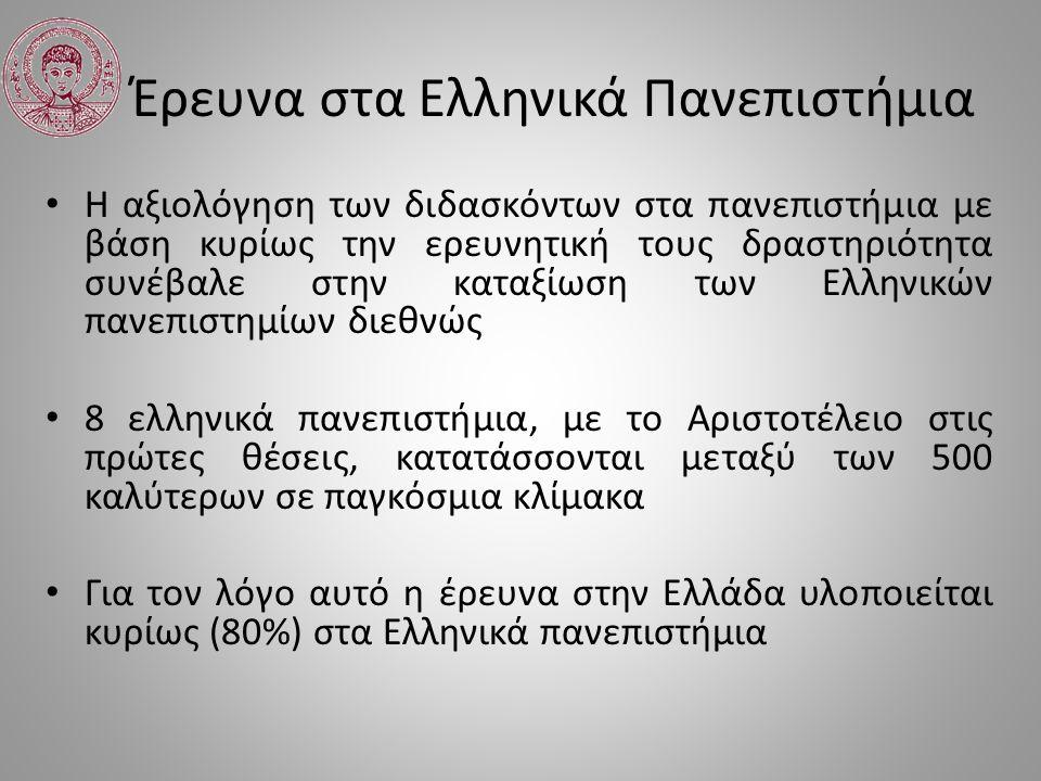 Έρευνα στα Ελληνικά Πανεπιστήμια Συνεπώς είναι αβάσιμες οι απαξιωτικές εκτιμήσεις της πολιτείας και της κοινωνίας από το 2011, σχετικά με το επίπεδο της τριτοβάθμιας εκπαίδευσης στην Ελλάδα.