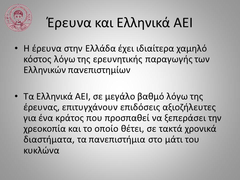 Έρευνα και Ελληνικά ΑΕΙ Η έρευνα στην Ελλάδα έχει ιδιαίτερα χαμηλό κόστος λόγω της ερευνητικής παραγωγής των Ελληνικών πανεπιστημίων Τα Ελληνικά ΑΕΙ,