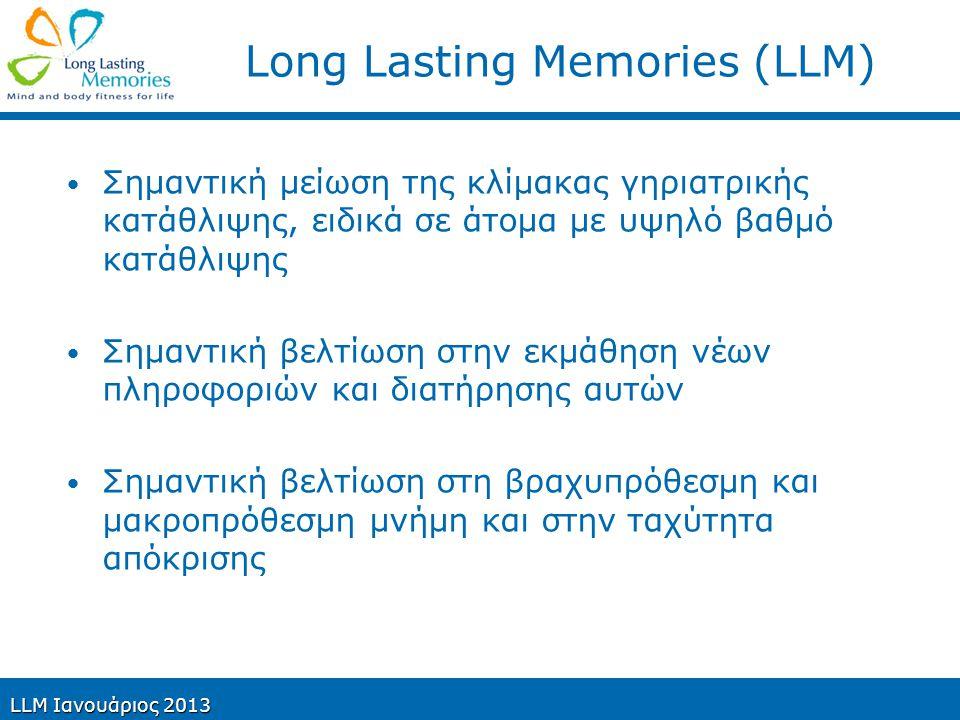 Long Lasting Memories (LLM) Σημαντική μείωση της κλίμακας γηριατρικής κατάθλιψης, ειδικά σε άτομα με υψηλό βαθμό κατάθλιψης Σημαντική βελτίωση στην εκ