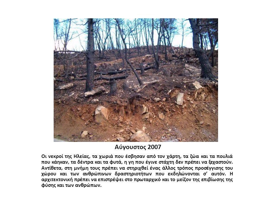 Αύγουστος 2007 Οι νεκροί της Hλείας, τα χωριά που έσβησαν από τον χάρτη, τα ζώα και τα πουλιά που κάηκαν, τα δέντρα και τα φυτά, η γη που έγινε στάχτη δεν πρέπει να ξεχαστούν.