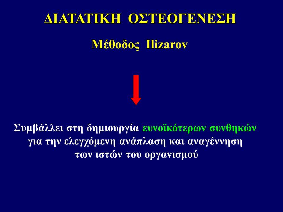 Συμβάλλει στη δημιουργία ευνοϊκότερων συνθηκών για την ελεγχόμενη ανάπλαση και αναγέννηση των ιστών του οργανισμού ΔΙΑΤΑΤΙΚΗ ΟΣΤΕΟΓΕΝΕΣΗ Μέθοδος Ilizarov