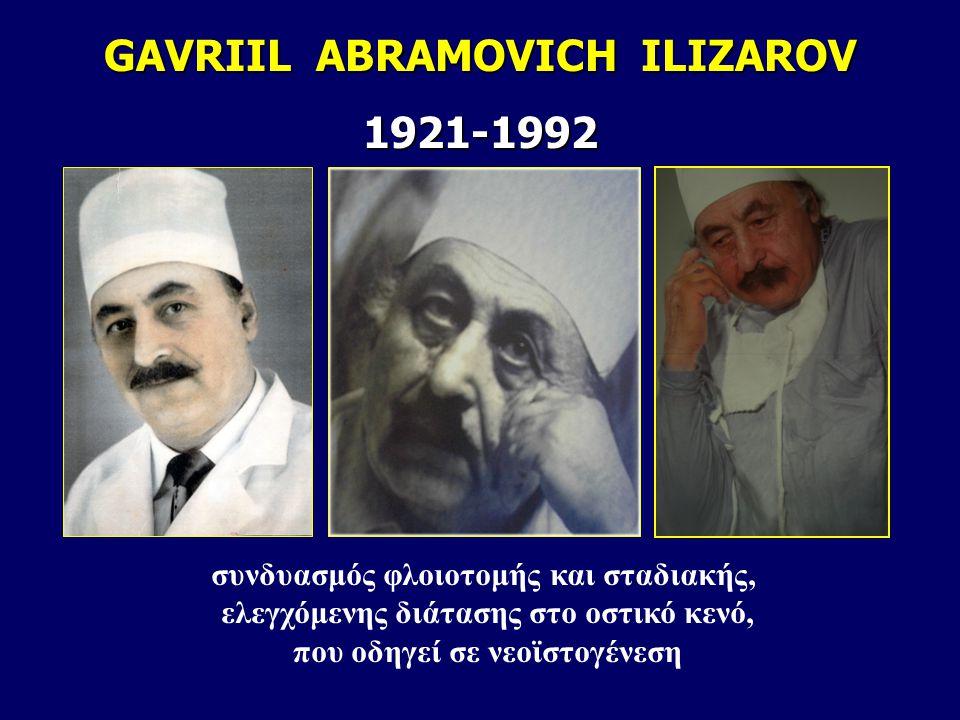 GAVRIIL ABRAMOVICH ILIZAROV 1921-1992 συνδυασμός φλοιοτομής και σταδιακής, ελεγχόμενης διάτασης στο οστικό κενό, που οδηγεί σε νεοϊστογένεση