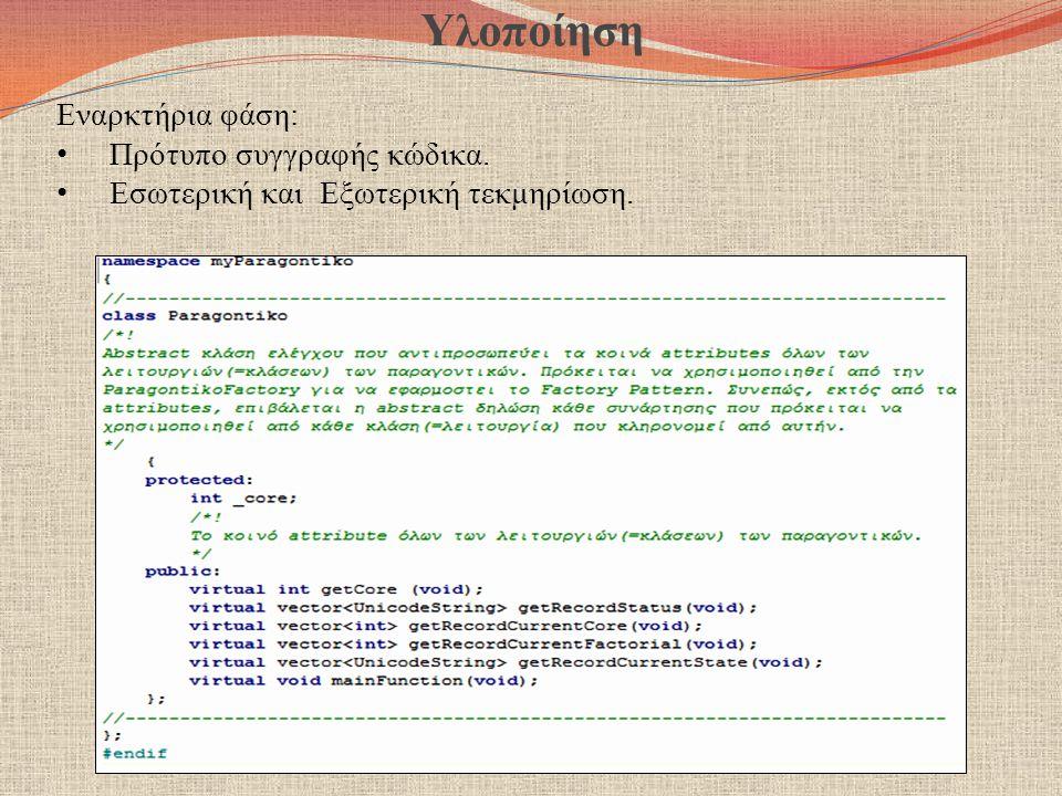 Υλοποίηση Εναρκτήρια φάση: Πρότυπο συγγραφής κώδικα. Εσωτερική και Εξωτερική τεκμηρίωση.